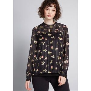 ModCloth Accentuated Ease Long Sleeve Blouse S